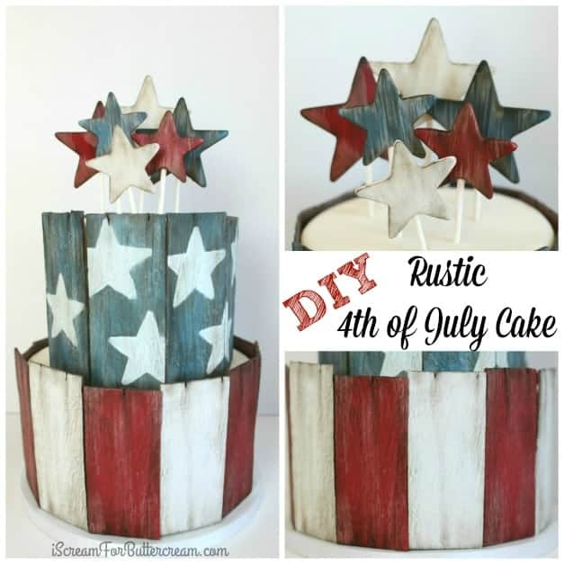 DIY Rustic 4th of July Cake