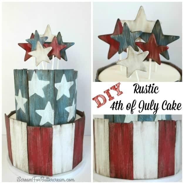 DIY Rustic 4th of July Cake
