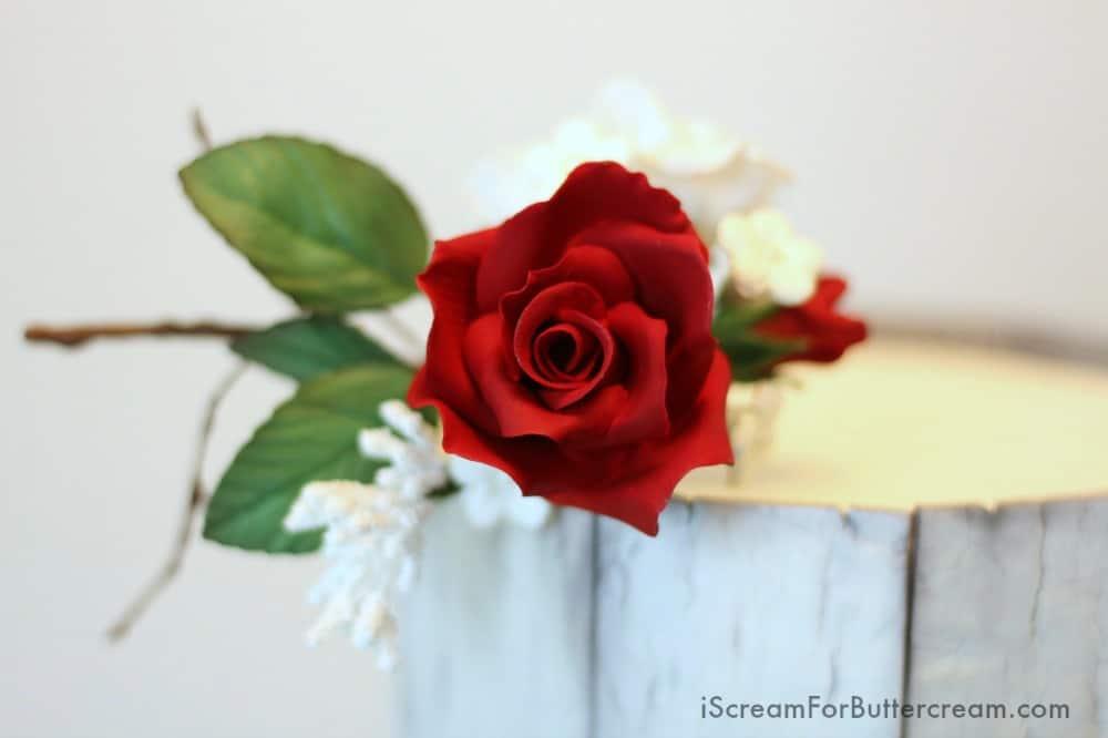 Red Rose Sugar Flower on Rustic Cake