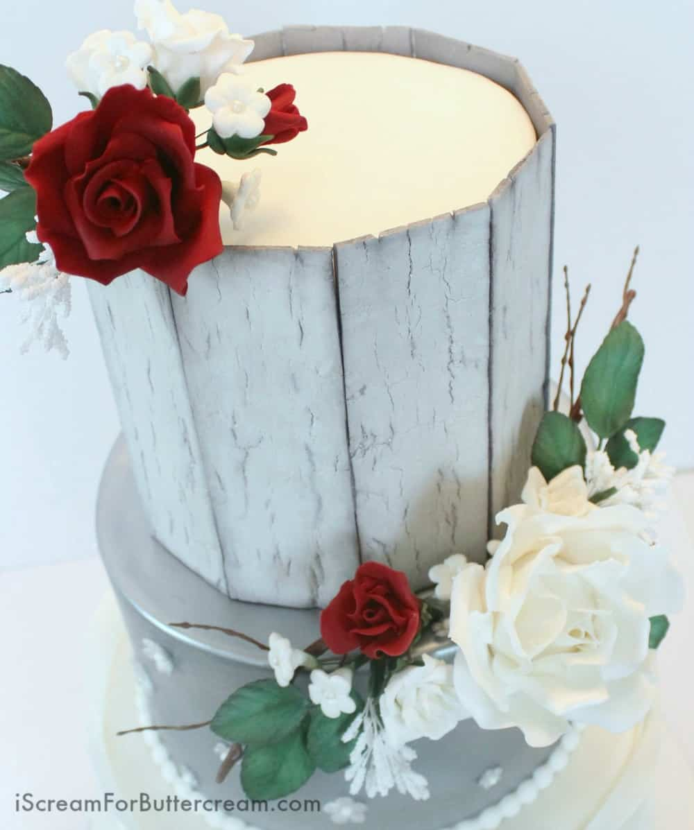 Elegant Rustic Silver Wedding Cake Top View