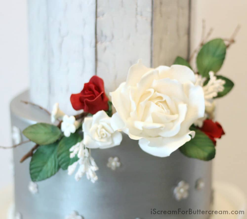 Sugar Flowers on Rustic Wedding Cake