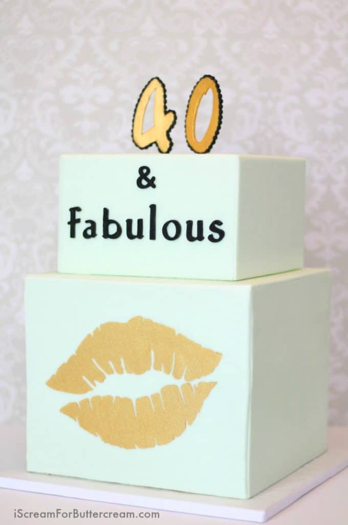 40 and Fabulous Mint and Gold Cake Tutorial