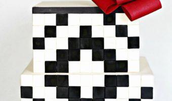 Black and White Geometric Cake