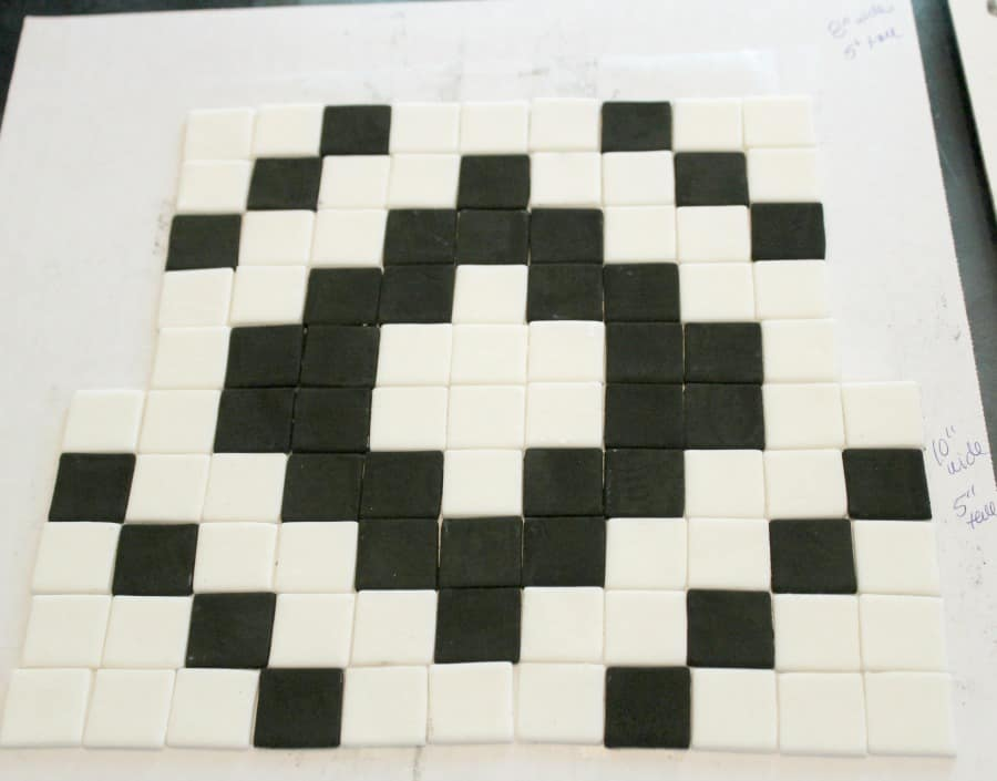laying out the pattern of fondant squares