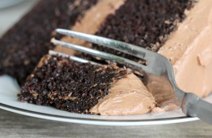 Easy Double Chocolate Sour Cream Cake with fork