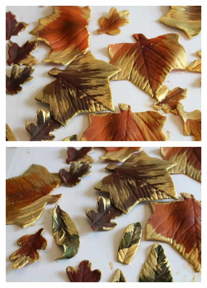 Adding the gold luster dust to the fondant leaves