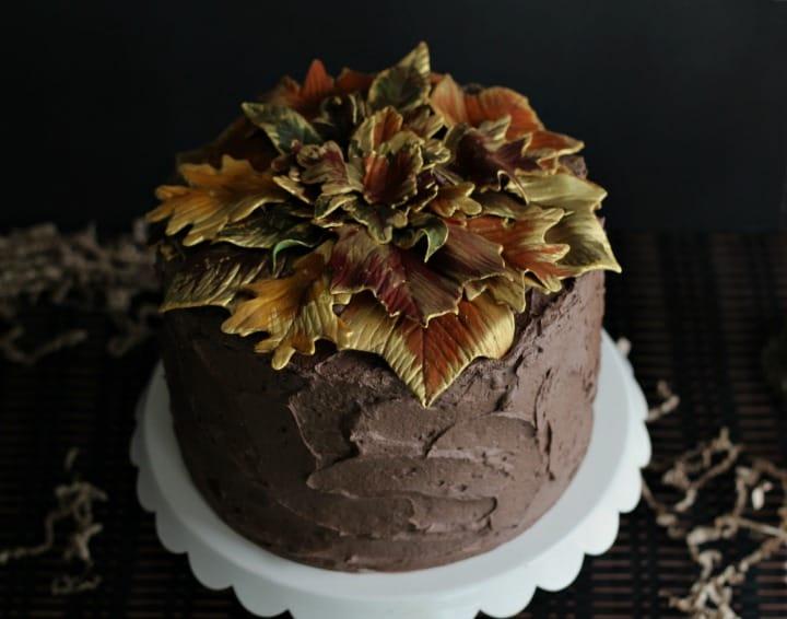 Gilded Leaf Cake