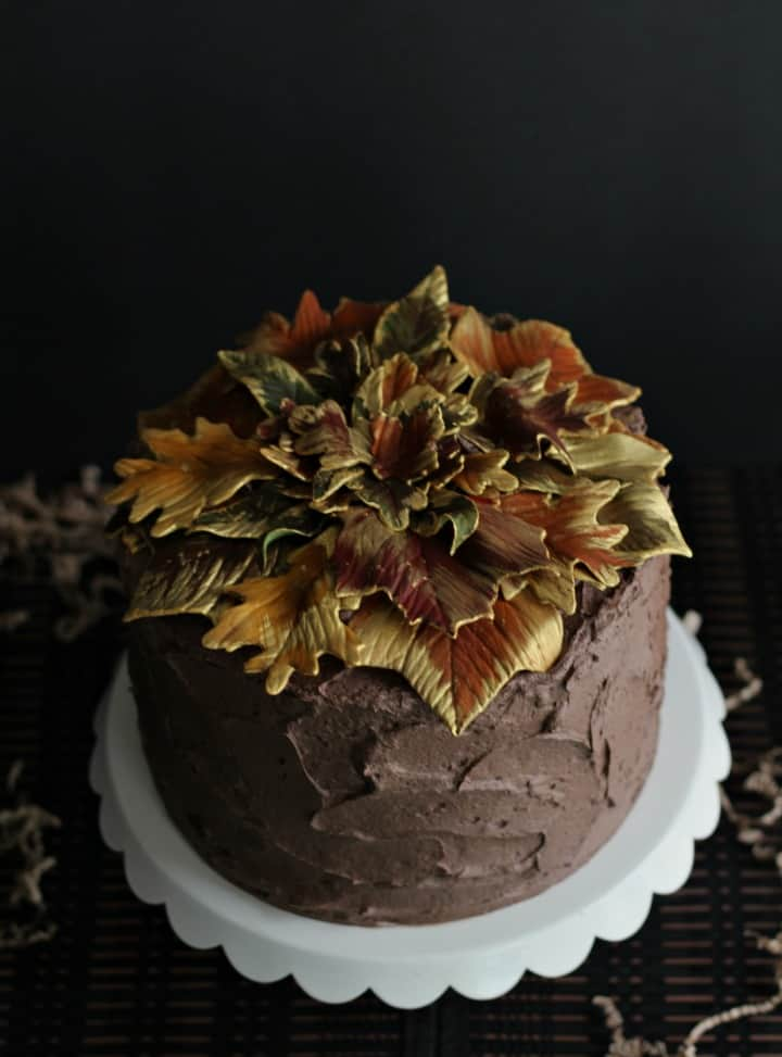 Gilded Leaf Cake on a white cake stand
