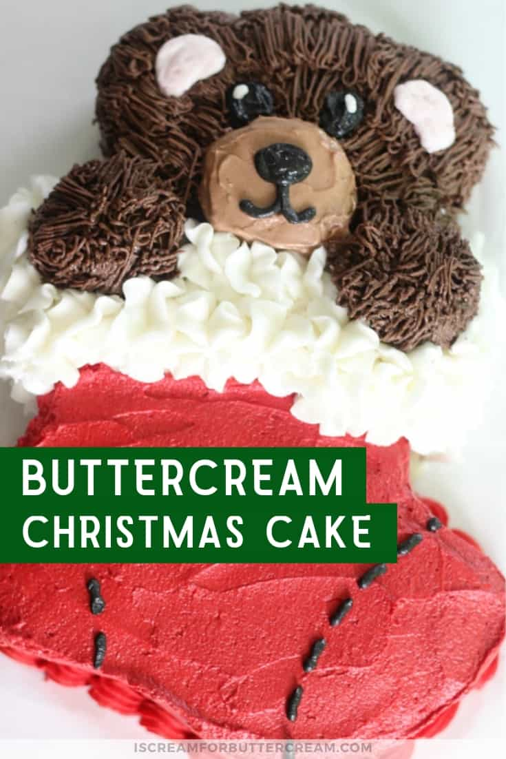 Easy Buttercream Christmas Cake New Pin Graphic 2