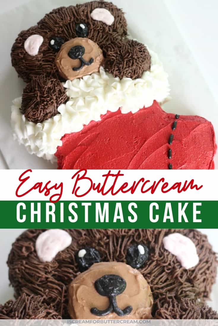 Easy Buttercream Christmas Cake New Pin Graphic 3