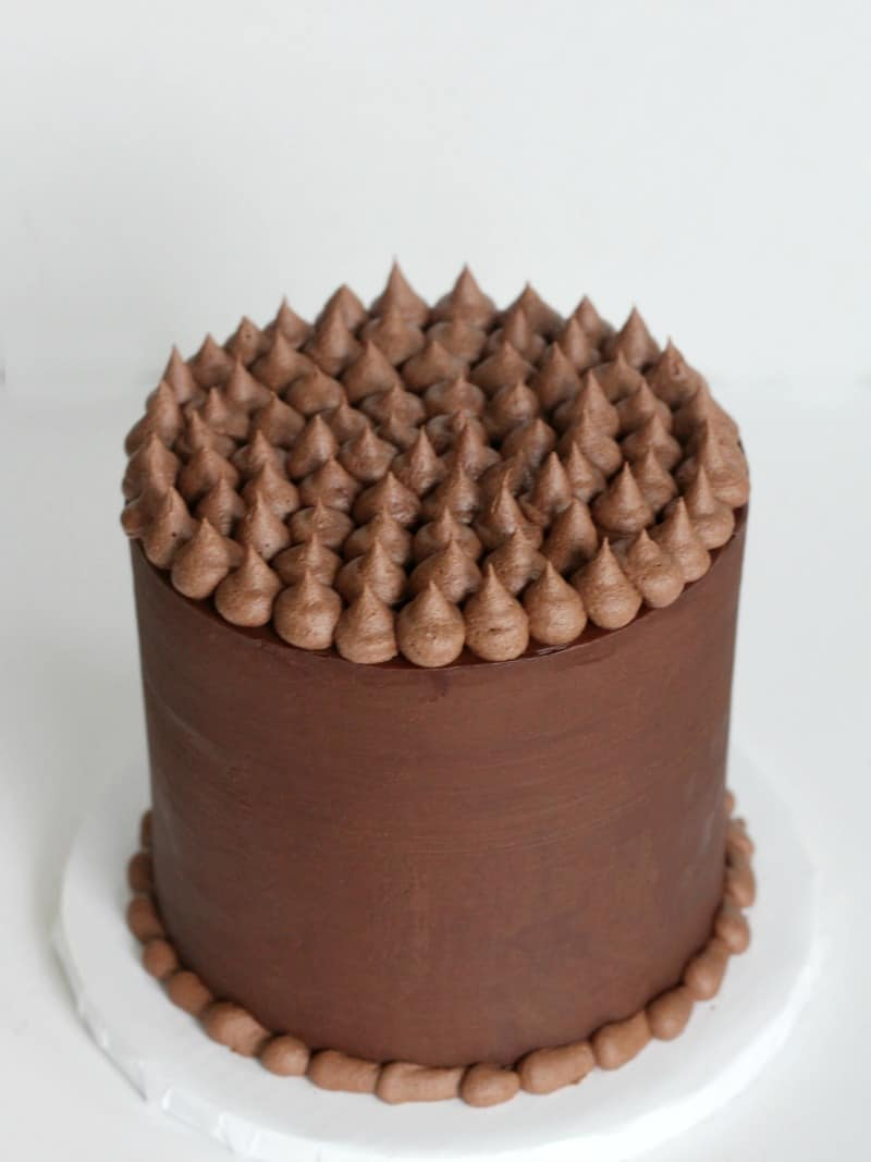 Chocolate Butter Cake covered with ganache