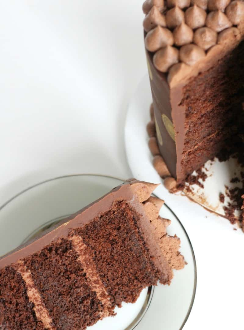 Chocolate Butter Cake slice on white plate
