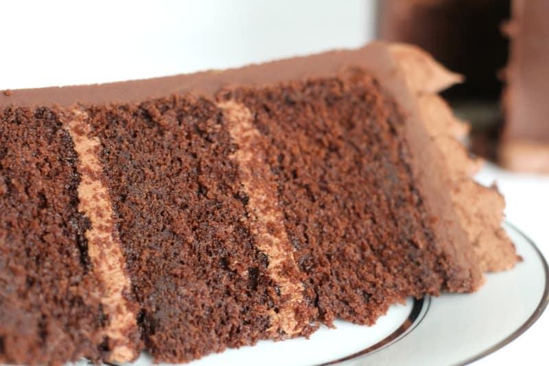 Chocolate Butter Cake Slice