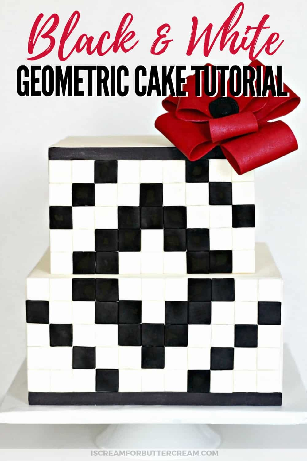 Black and White Geometric Cake Tutorial new Pin 1