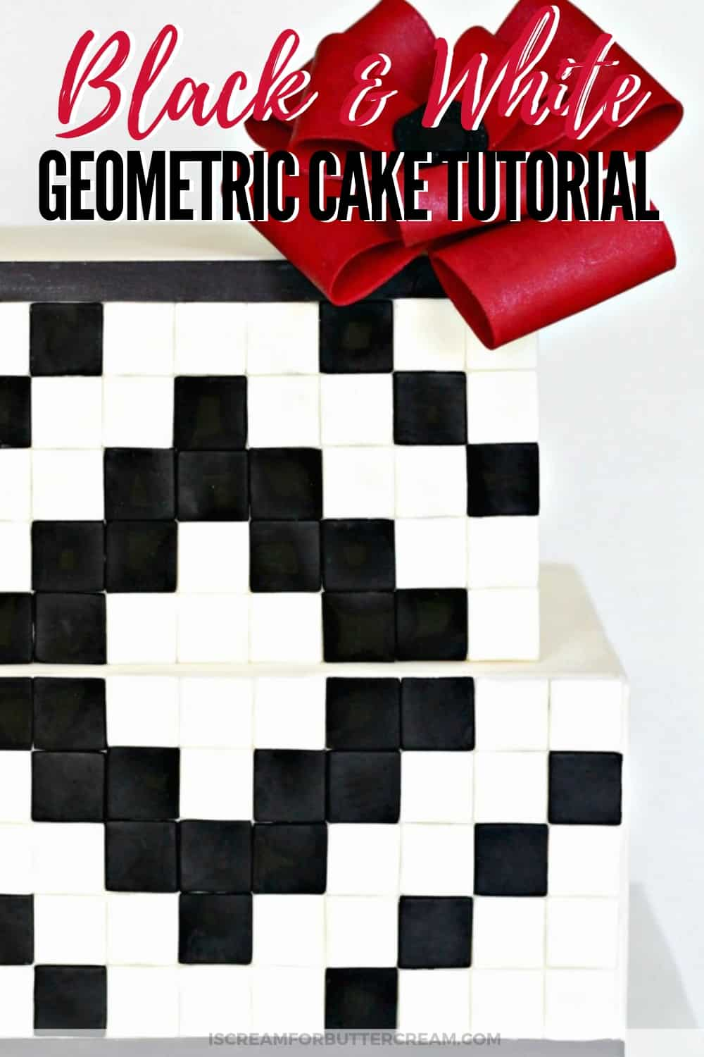 Black and White Geometric Cake Tutorial new Pin 2