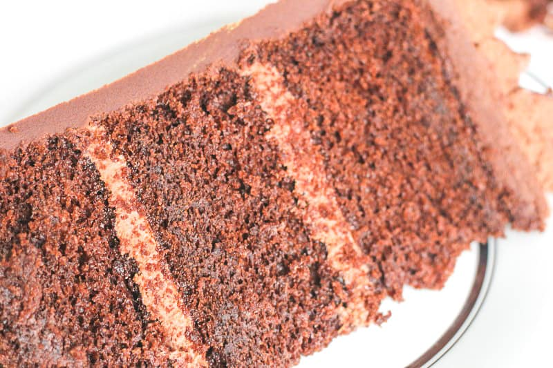 close up slice of chocolate butter cake