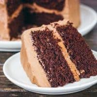 Slice of chocolate butter cake on a white plate
