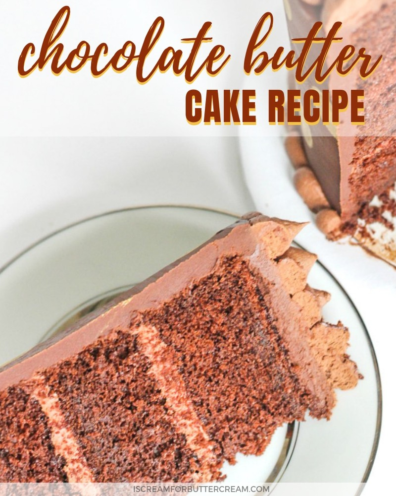 chocolate butter cake slice on a white plate blog title graphic