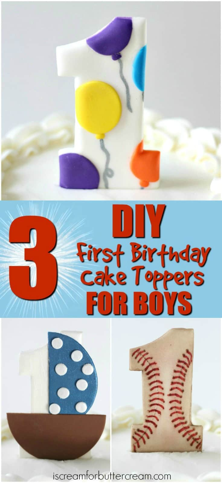 3 DIY Cake Toppers for Boys Pinterest Graphic