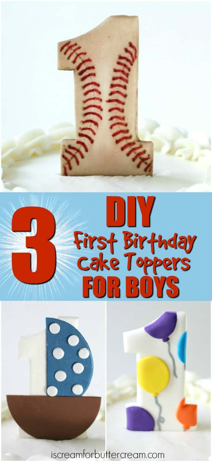 3 Cake Toppers for Boys
