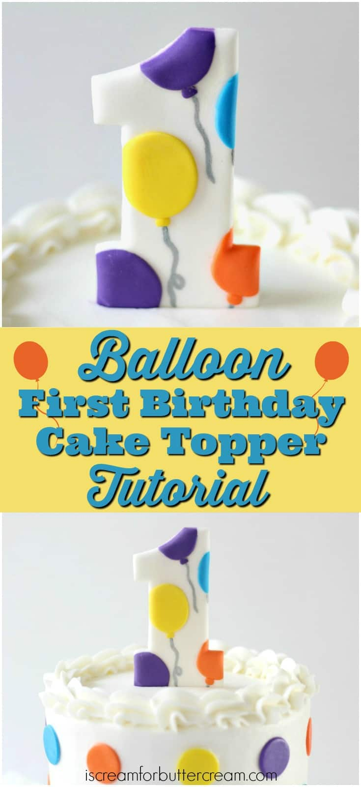 Balloon First Birthday Cake Topper