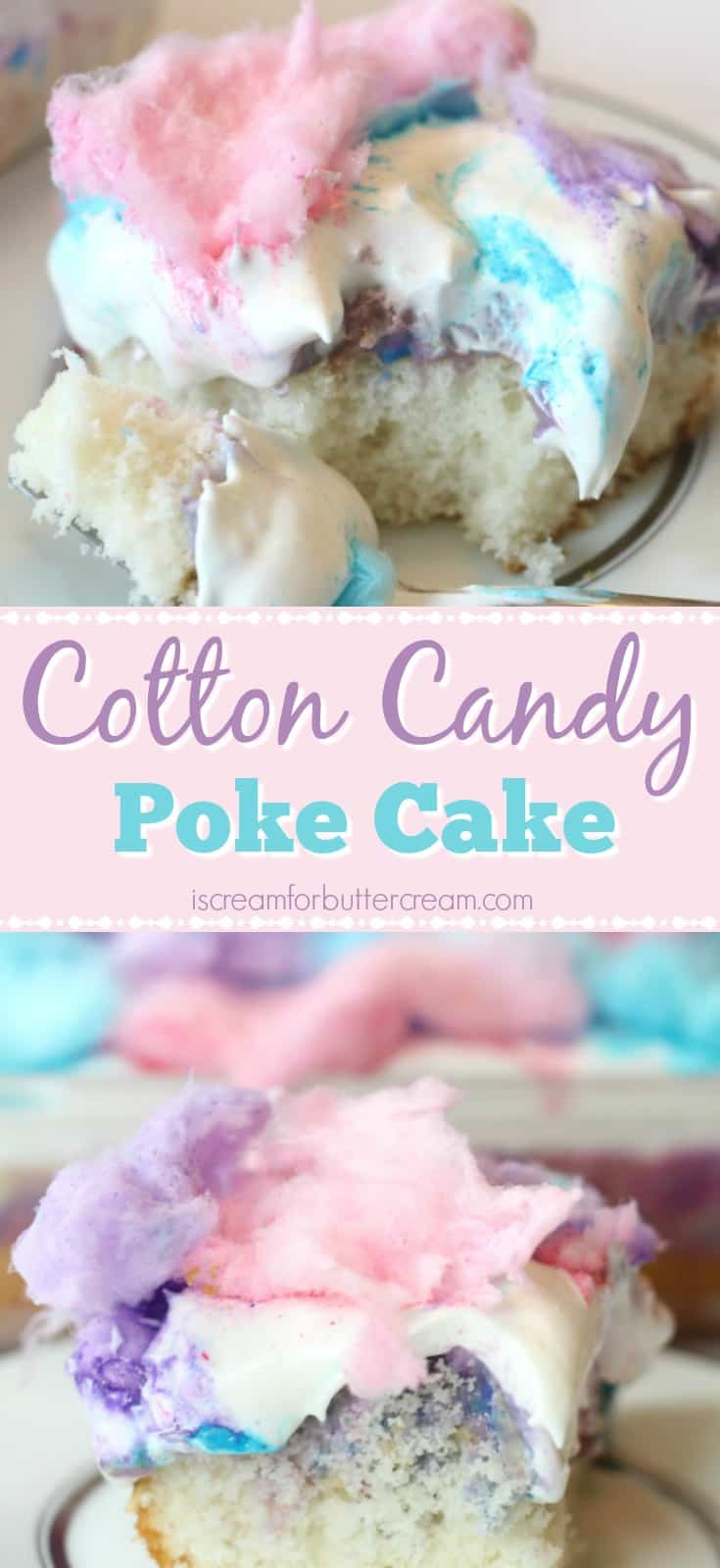 Cotton Candy Poke Cake Pinterest Graphic