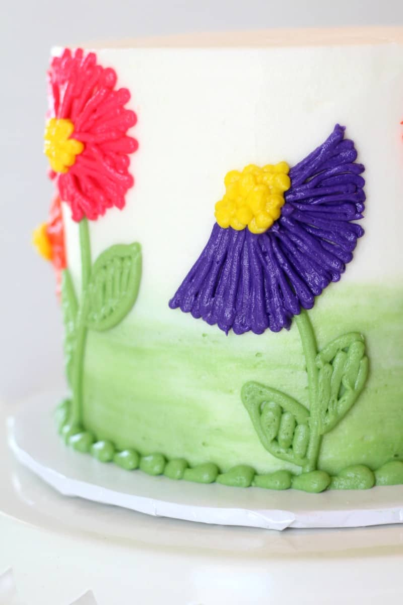 Easy Buttercream Flower Cake close up side view