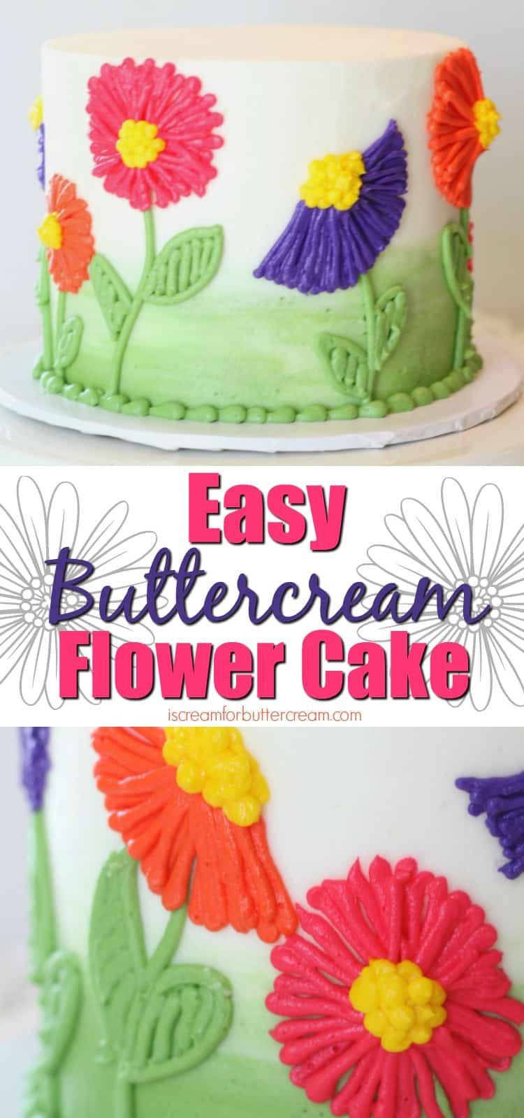 Easy Buttercream Flower Cake Pinterest Graphic