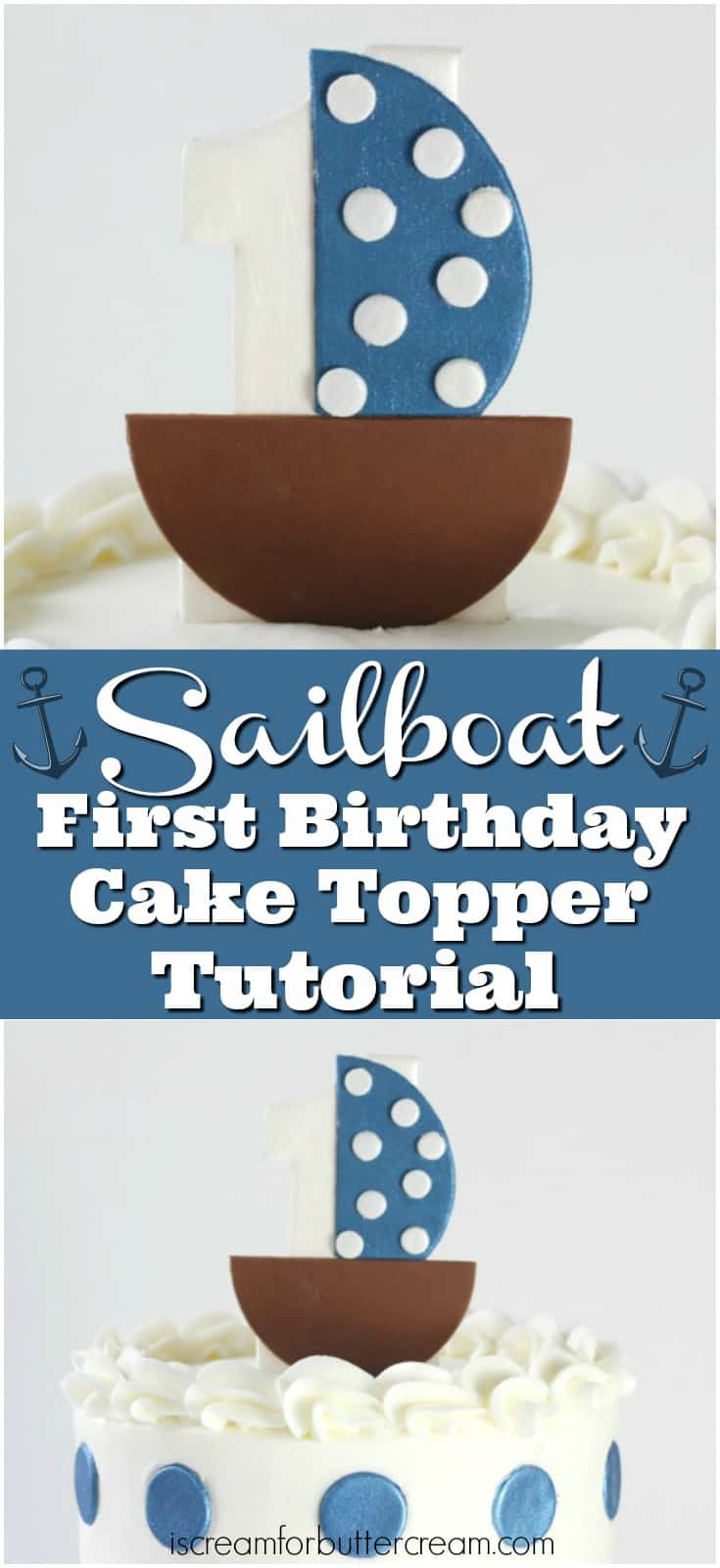 Sailboat First Birthday Cake Topper