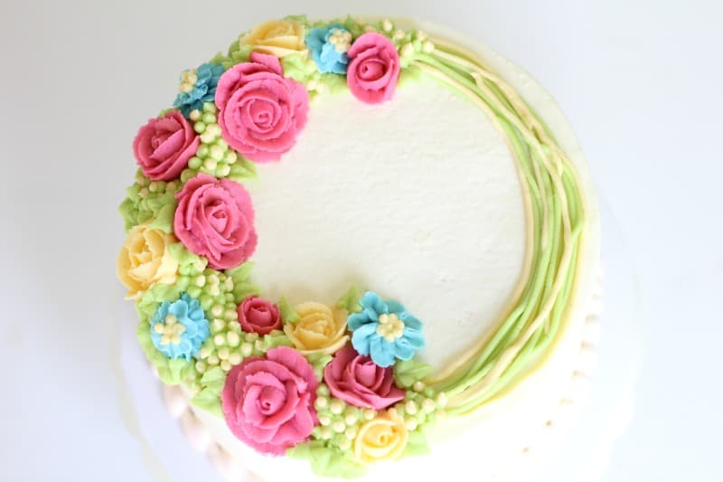 Smooth Buttercream Cake With Buttercream Flowers