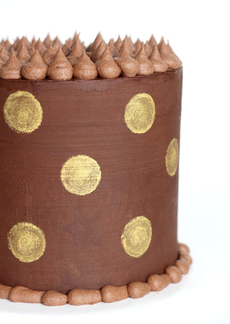 Gold Polka Dot Ganache Cake
