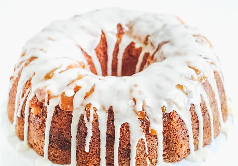 apricot white chocolate bundt cake with glaze