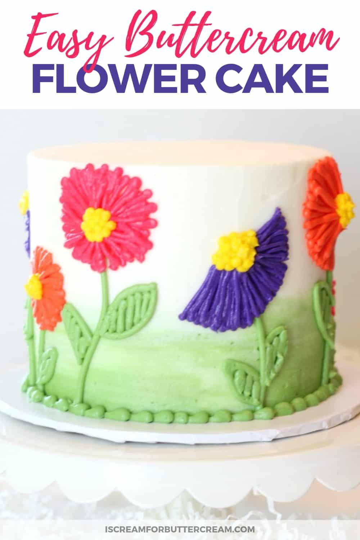 Easy Buttercream Flower Cake New Pinterest Graphic 3