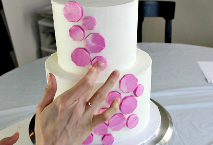 attaching the buttercream shapes