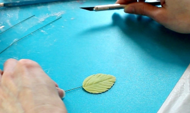 adding character to gumpaste leaves