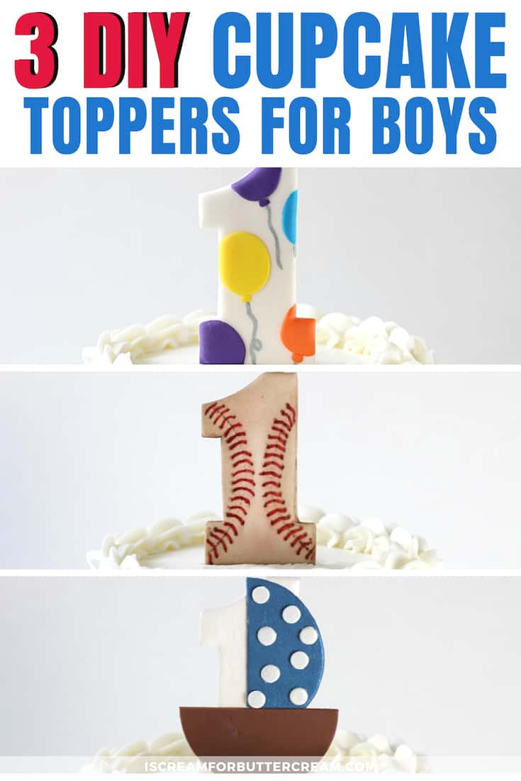 3 DIY First Birthday Cake Toppers for Boys New Pin Graphic 1