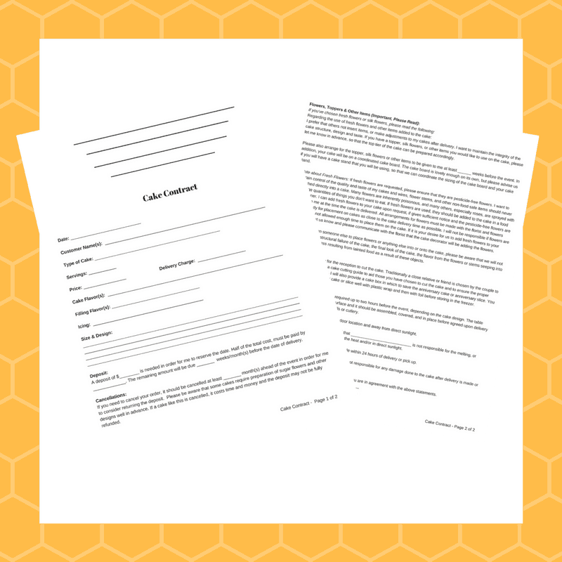 Cake Contract Example Printable