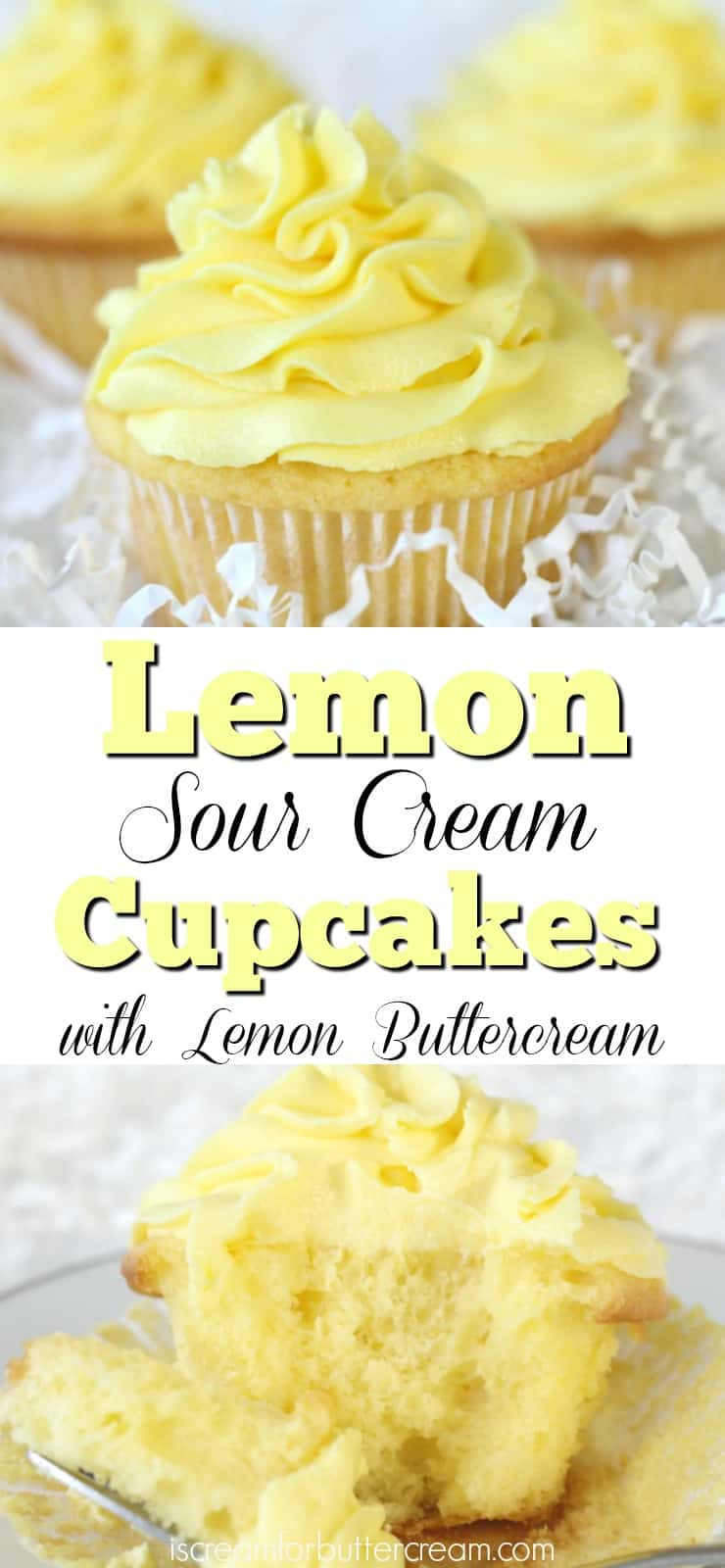 Lemon Sour Cream Cupcakes Pinterest Graphic