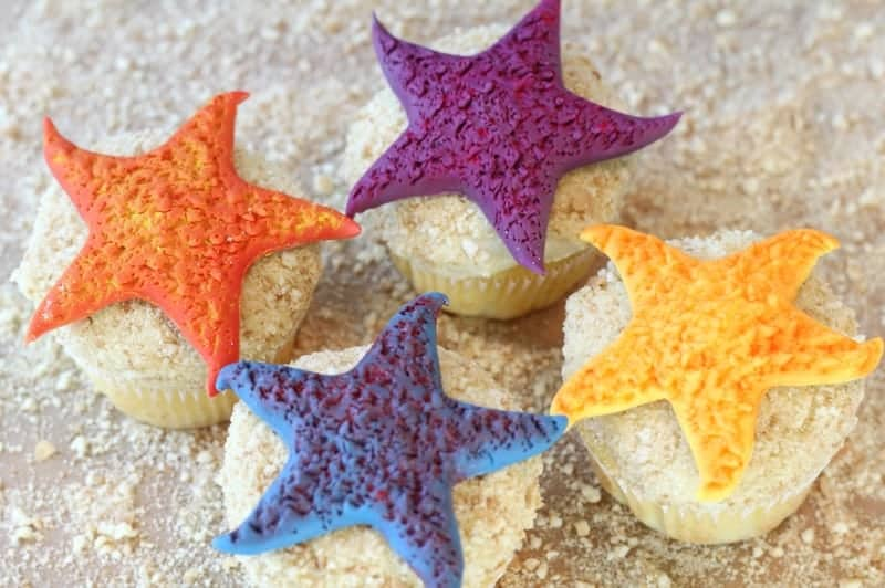 Colorful Starfish Cupcakes
