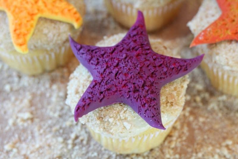 Purple fondant starfish cupcake topper