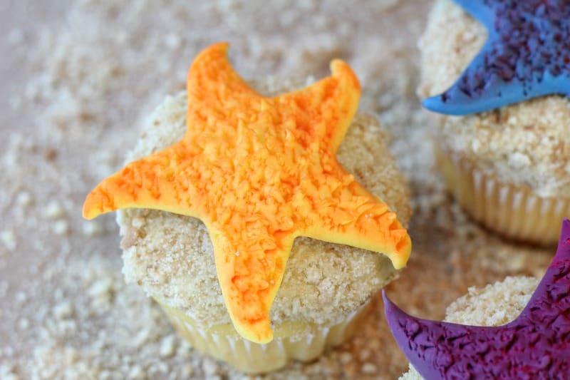 Yellow fondant starfish cupcake topper