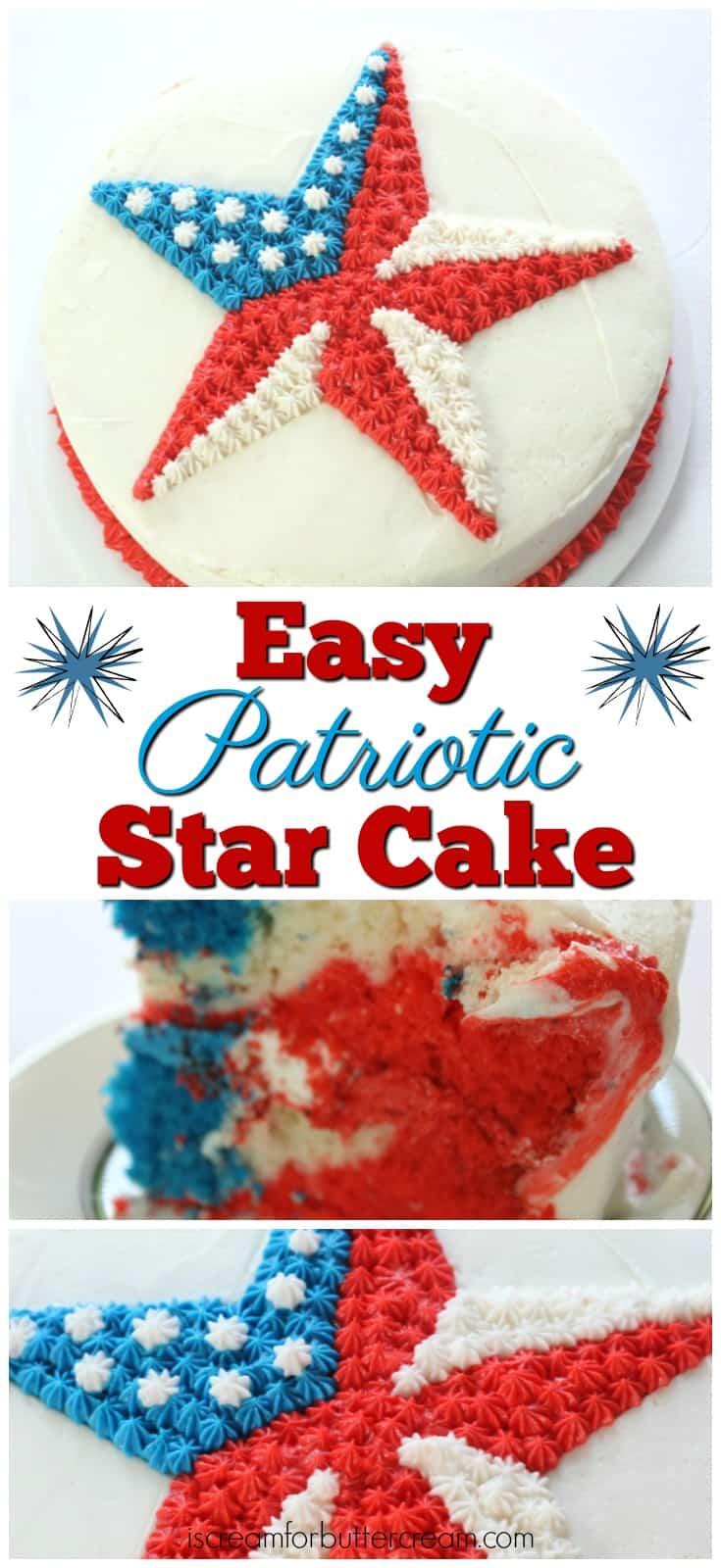 Easy Patriotic Buttercream Star Cake Pinterest Graphic