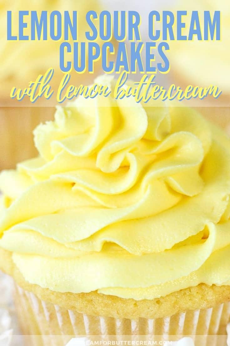 Lemon sour cream cupcakes Pin 1