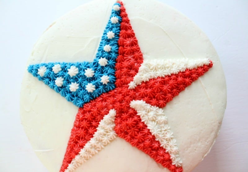 Easy Patriotic Buttercream Star Cake close up
