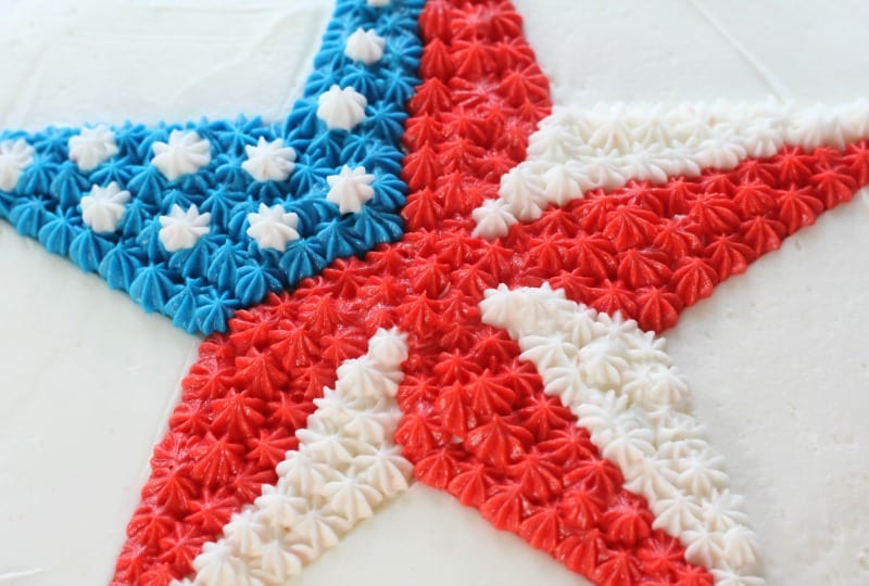Easy Patriotic Buttercream Star Cake close up of buttercream piped star