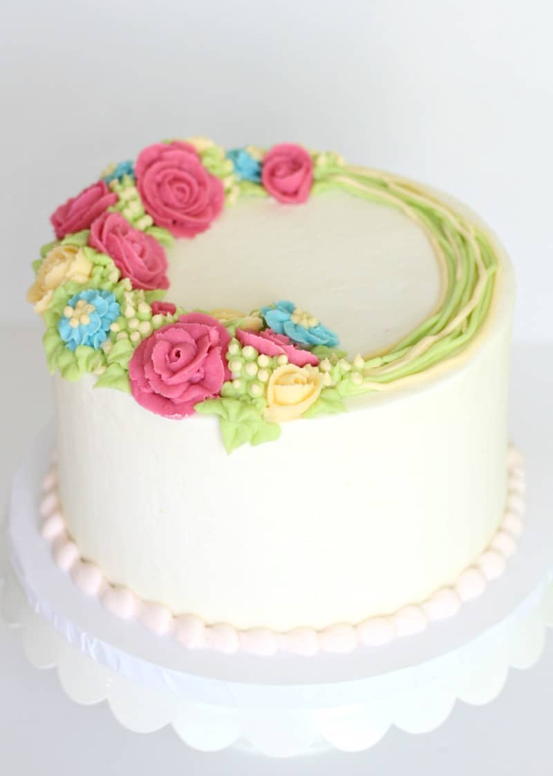 Smooth Buttercream Floral Cake