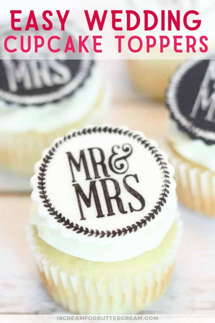 Easy Edible Wedding Cupcake Toppers Pin 2