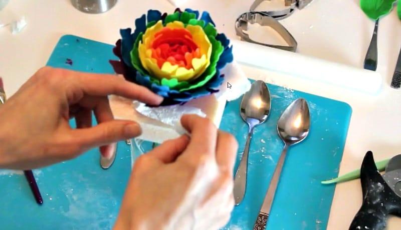 Drying the rainbow gumpaste peony