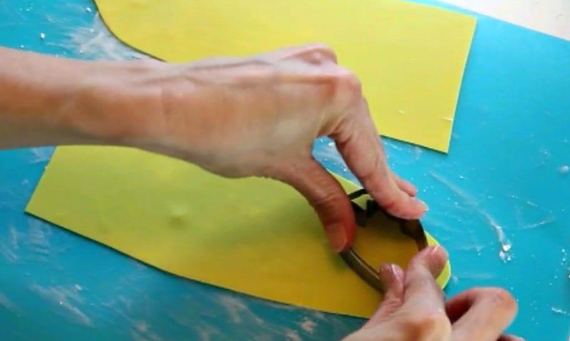 Cutting out gumpaste peony petals