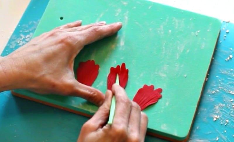 veining the gumpaste peony petal